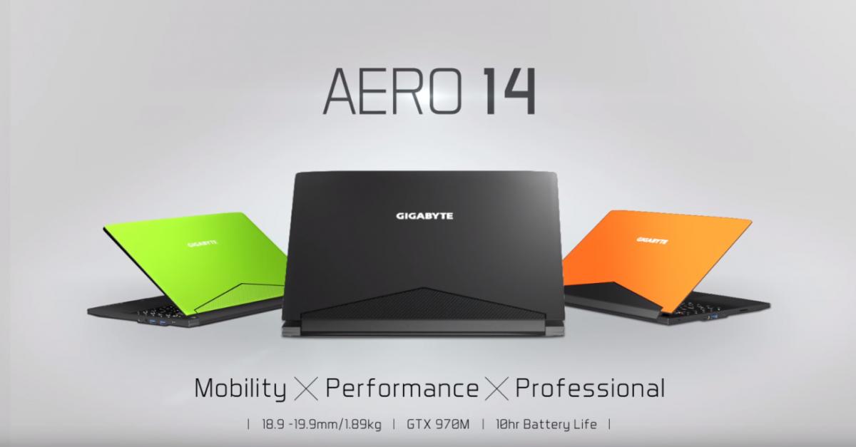 Gigabyte Aero 14, Laptop Gaming Mainstream Berbaterai Super